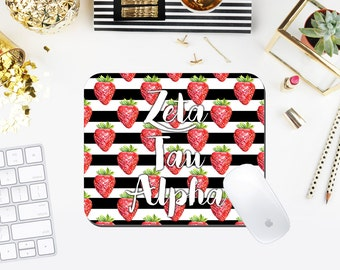 Strawberries & Stripes Custom Sorority Mouse Pad exclusively at The Greek Ink Press