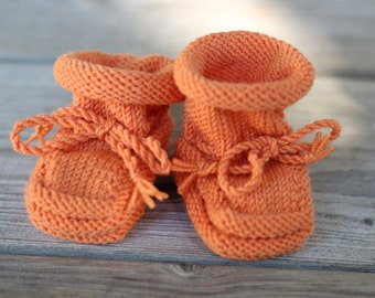 Handmade Merino Wool Baby Booties with Stay-On Laces – Orange (0-6 Months)