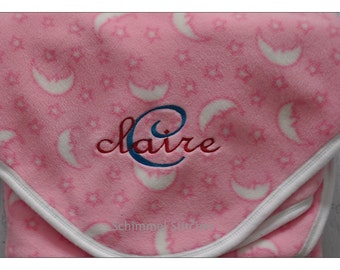 Personalized Embroidered Baby Blanket,Pink Stars/Moon PolarFleece