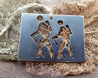 Colorado Hikers State Christmas Ornament Rustic Raw Steel Personalize Engrave CO Metal Holiday Decoration Stocking Stuffer Hiking Hike
