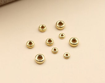 925 sterling silver flat beads 24k yellow gold plated beads diy jewelry wholesale A003