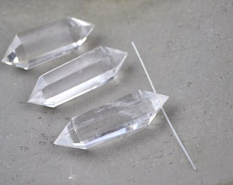 Top drilled natural clear quartz double points loose stone rock crystal quartz point prism wand healing crystal stone