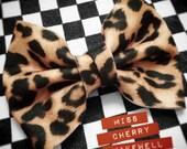 Large Leopard Animal Print Felt Hair Bow 1950's Vintage Pin Up Kawaii Inspired Hair Clip Hair Piece Headpiece by Miss Cherry Makewell