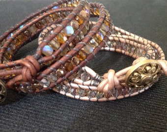 Leather wrap around bracelets with crystal beads