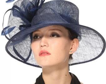 Fancy Medium Brim Kentucky Derby Floppy Slant Top Bucket with Flowers  Millinery Church  Hat Navy Blue