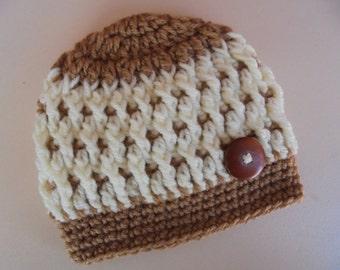 Crochet baby hat, newborn boy hat, baby beanie, cream newborn hat, baby hat, newborn hat, hat for newborns, button baby hat, baby boy beanie