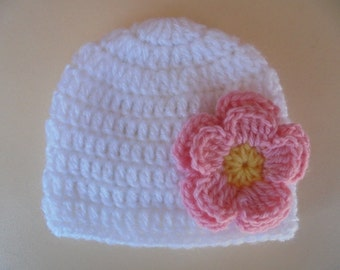 Crochet baby hat, baby girl hat, white baby hat, newborn crochet hat, newborn girl hat, baby girl beanie, wool newborn hat