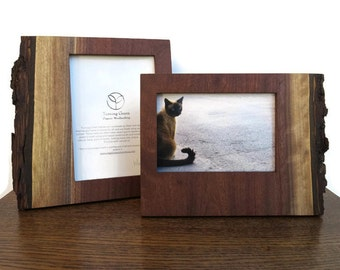 Sustainable Walnut Wood Picture Frame  -made by Turning Green, has natural bark