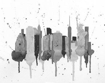 New York City Skyline Art Print, NYC Cityscape Art Print, New York City Painting, New York City Skyline Painting, New York City Canvas Print