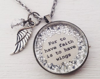For to have faith is to have wings medium glitter surround pendant necklace with wing charm and faceted bead dangle