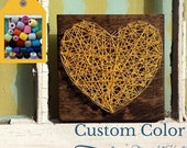 Nail and String Art Heart in Yellow on Stained Wood, Custom Made String Art Heart, Gift Under 10, Unique Gifts, Custom Made Sign
