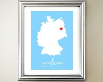 Germany Custom Vertical Heart Map Art - Personalized names, wedding gift, engagement, anniversary date