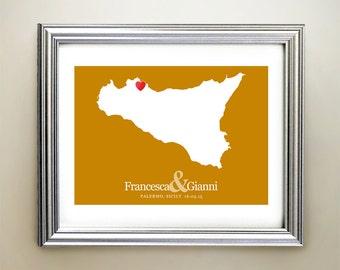 Sicily Custom Horizontal Heart Map Art - Personalized names, wedding gift, engagement, anniversary date