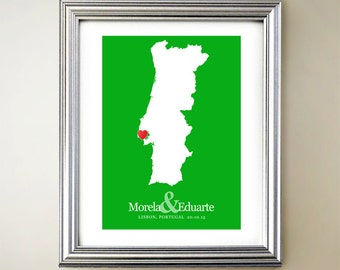 Portugal Custom Vertical Heart Map Art - Personalized names, wedding gift, engagement, anniversary date
