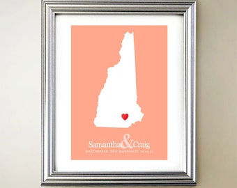 New Hampshire Custom Vertical Heart Map Art - Personalized names, wedding gift, engagement, anniversary date