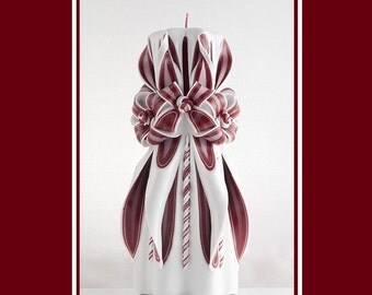Carved Candle - Red Candle - white candle - Christmas Candle - Gift Idea