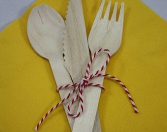 ON SALE 36 Wooden Utensils - Forks - Spoons - Knives - Wedding Supplies - Baby shower  - Birthday Party - Wood Forks - Wood Knives - Wood Sp