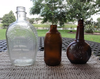 Lot of 3 America's Bicentennial 1976 glass bottles