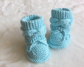 Turquoise Baby booties -  Knitted baby booties - Baby boy booties - Baby girl booties - Hand Knit Baby Booties - Cable knit booties