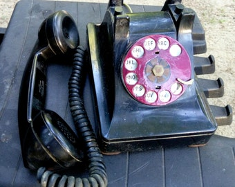 Bell System Telephone Western Electric F1 WWII era Communication handset Rotary dial Black case phone Mid Century Decor Electronics
