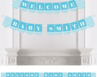 Chevron Blue - Bunting Banner - Personalized Baby Shower, Bridal Shower or Birthday Party Decorations