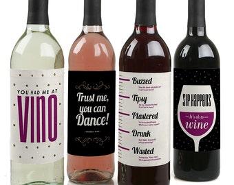 Sip Happens - Funny Wine Bottle Labels - Set of 4