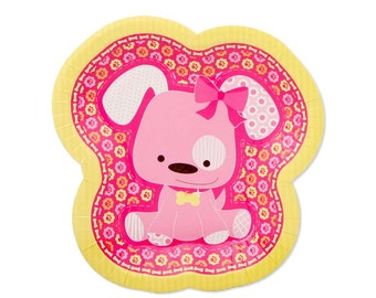 8 Count - Girl Puppy Dog Dessert Plates - Baby Shower or Birthday Party Supplies