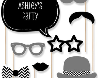 20 Black and White Photo Booth Props with Mustache, Hats, Bow Ties and Custom Talk Bubble - Baby Shower, Brithday Party, Bridal Shower