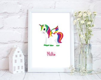 Little Girls Room Decor, Unicorn Nursery, Unicorn Print, Girls Room Decor, Girls Bedroom Decor, Unicorn gift, Personalised Unicorn Print,