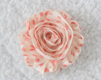 2.5 Shabby Chiffon Flowers Wholesale, Printed Flowers for Infant Headbands, By the yard, 1/2 yard or 2 flowers, Cream with Coral Polka Dots