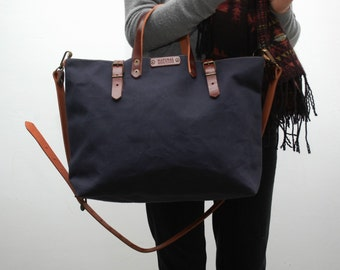 waxed canvas bag/tote bag/ with leather handles and closures,navy blue color
