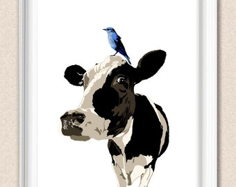 Friesian Cow Print With Blue Bird Original Cow Art Cow Gift Dairy Cow Wall Art A147