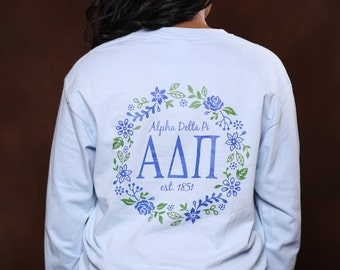 Alpha Delta Pi Vine Long Sleeve - ADPi Letter Shirt