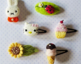 Needle felted Hair clips- bunny, cat, ice cream cone, ladybug, sunflower ( Each sold individually)