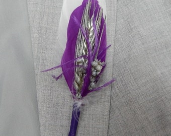 Silver Wheat and Purple Feather Boutonniere