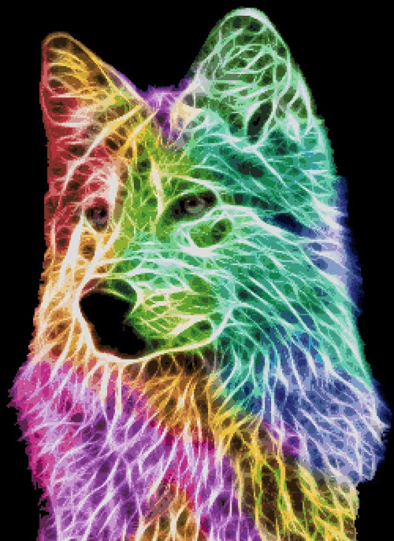 Counted Cross Stitch Pattern Fractal Wolf Wolf Fractal