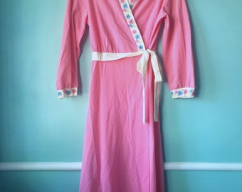 SUPER CUTE 1970's robe/wrap dress M/L