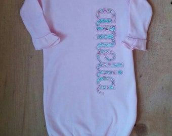 Pink Newborn Infant Gown with ruffle and applique name Personalized