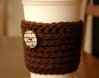 Reusable Coffee Cozy Sleeve Brown Script Romantic
