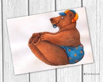 Originalillustration bear signed