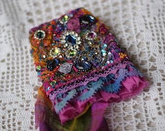 Marie Antoinette cuff, Gypsy wrist cuff, bead embroidered cuff, shabby chic cuff, bohemian cuf, statement cuff, cuff bracelet, tettered cuff