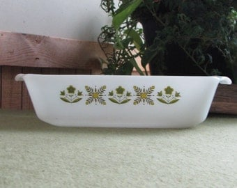 Fire King Meadow Green Bread Pan Anchor Hocking 1968-1976 Vintage White Oven and Cookware Kitchens Farmhouse Style Loaf Pans Baking Dish