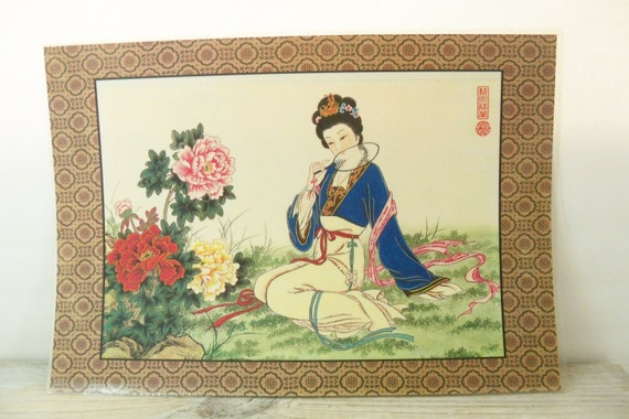 Oriental Placemat Vintage Vinyl Place Mat Japanese Chinese Geisha Girl with Carnation Flowers Oriental Village 1970s