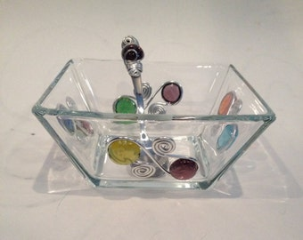 6 inch Square Dip/Candy Bowl #2- with dip spoon
