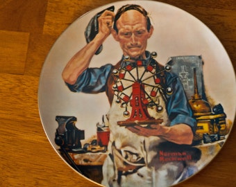 Vintage Norman Rockwell The Inventor Collector's Plate