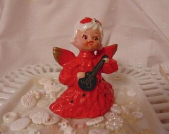 Christmas Musical Angel, Ceramic Angel ,Banjo, Wings ,MIJ, Numbered