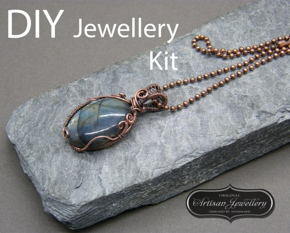 diy jewelry kit wire wrapped necklace cabochon setting