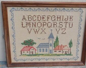 Vintage Cross Stitched Sampler!