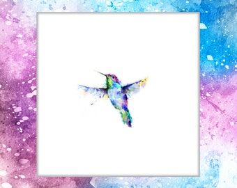 Temporary Watercolor Hummingbird Tattoo, Temporary Tattoo, Bird Tattoo, Watercolor Tattoo, Nature, Rainbow, Flash
