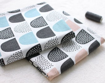Round Mountain Pattern Cotton Fabric (25495)- 2 Colors Selection